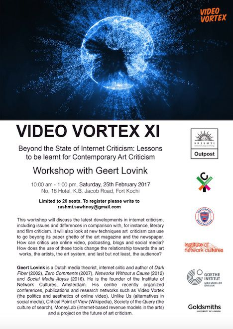 Video Vortex XI VV XI will be held from 22-26 February, as a part of the Srishti
