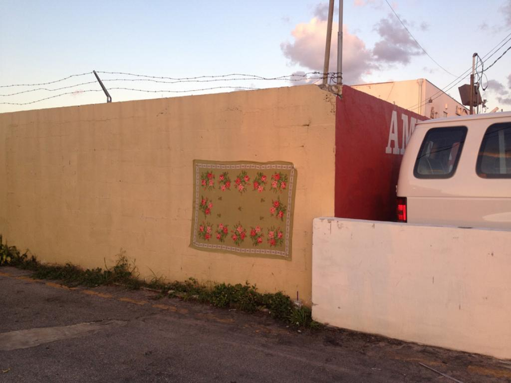 homeless, leyla rodriguez, isle of lox, textiltaggx, tableclothing on walls, hei